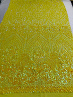 Shiny Pattern Sequins - Yellow - 4 Way Stretch Multi Pattern Net Design Fashion Fabric