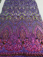 Shiny Pattern Sequins - Iridescent Purple / Gold Mesh 4 Way Stretch Multi Pattern Net Design Fabric