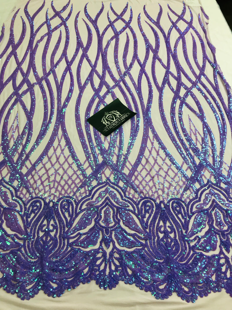 Wavy Line Sequins - Lilac - 4 Way Stretch Iridescent Pattern with Net Design Fashion Fabric