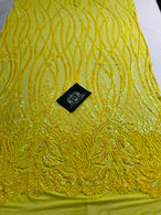 Wavy Line Sequins - Yellow - 4 Way Stretch Iridescent Pattern with Net Design Fashion Fabric