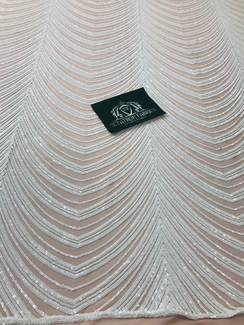Sequins in Lines - White / Nude Mesh - Iridescent 4 Way Stretch Two Tone Color Design Sequins Fabric