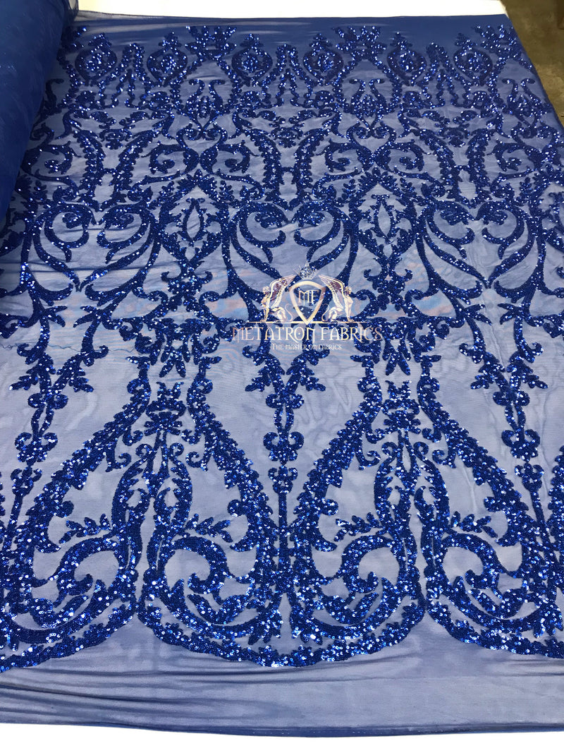 4 Way Stretch - Royal Blue - Sequins Damask Design Fabric Embroidered On Mesh Sold By The Yard