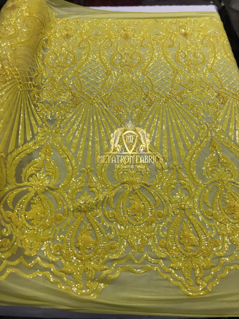 Sequins - Yellow - 4 Way Stretch Damask Design Fabric On Stretch Mesh By The Yard