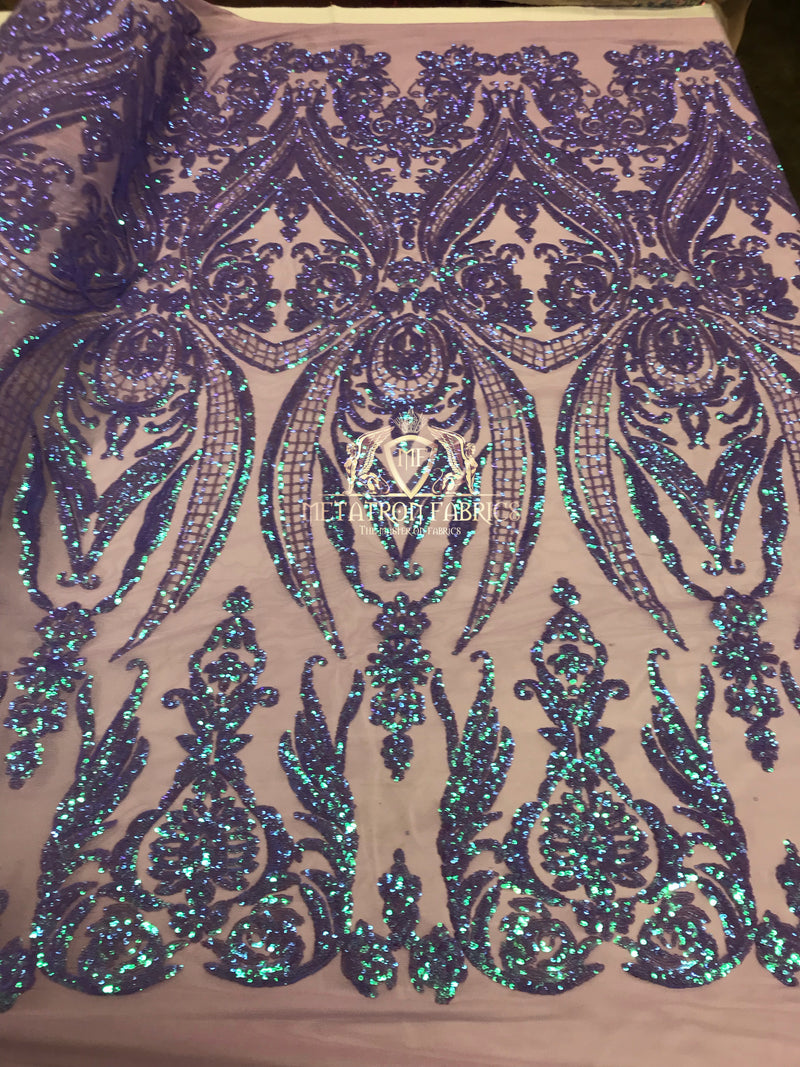 Iridescent - Lilac Purple - Sequins 4 Way Stretch Fabric Embroidered On Mesh Sold By The Yard