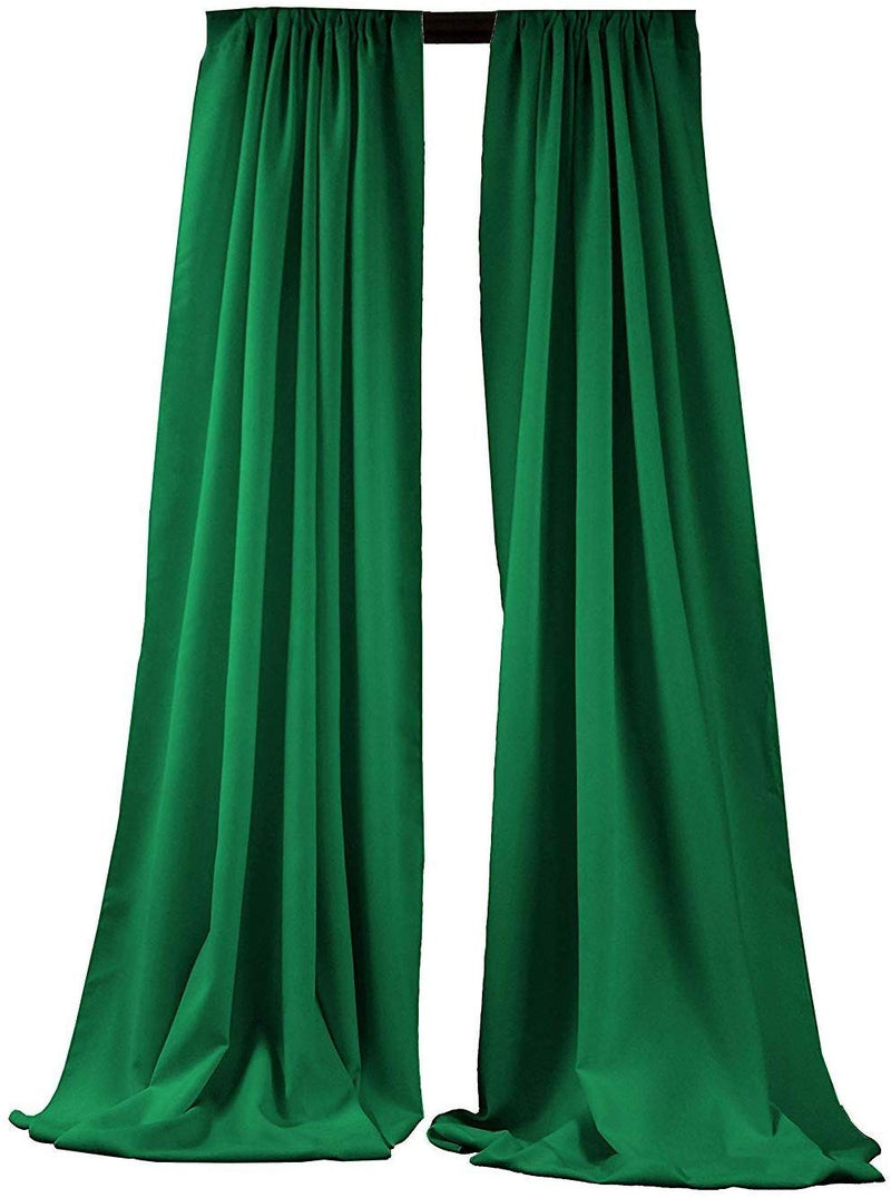 5 Feet x 10 Feet - Kelly Green Polyester Backdrop Drape Curtains, Polyester Poplin Backdrop 1 Pair
