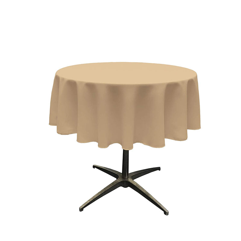 Round Linentablecloth - Khaki - 51 Inch Round Banquet Polyester Cloth, Wrinkle Resist Quality