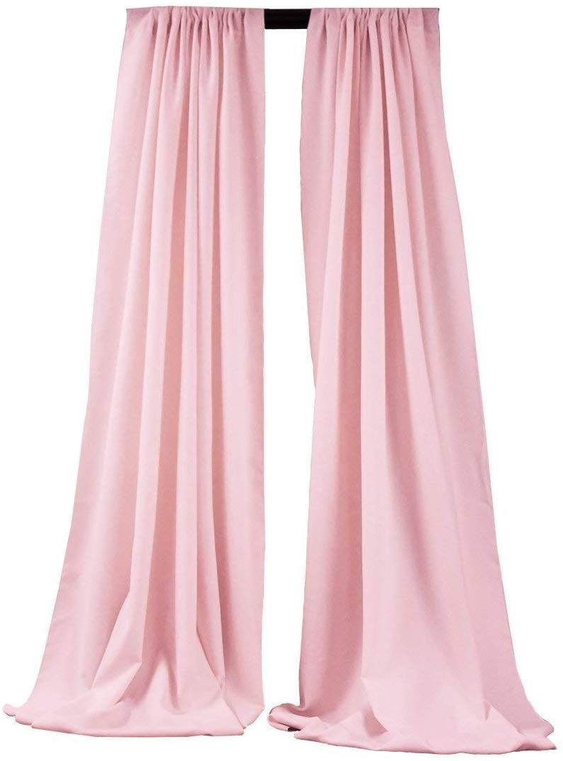 5 Feet x 10 Feet - Light Pink Polyester Backdrop Drape Curtains, Polyester Poplin Backdrop 1 Pair