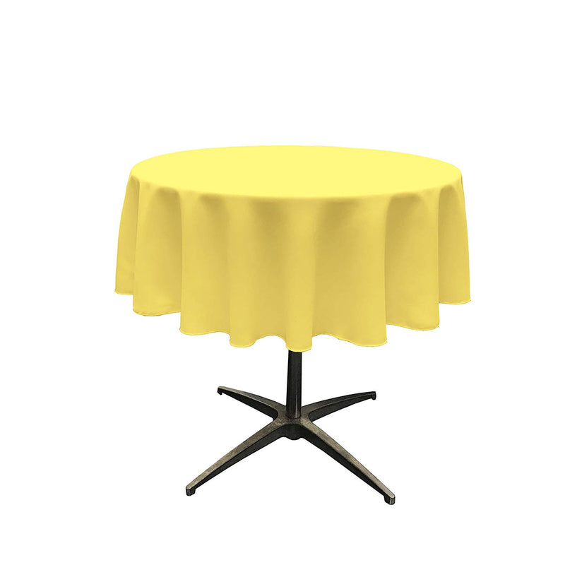 Round Linentablecloth - Light Yellow - 51 Inch Round Banquet Polyester Cloth, Wrinkle Resist Quality