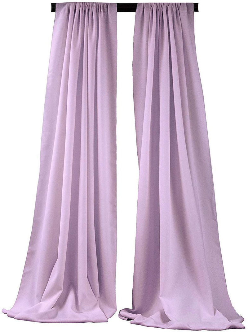 5 Feet x 10 Feet - Lilac -  Polyester Backdrop Drape Curtains, Polyester Poplin Backdrop 1 Pair