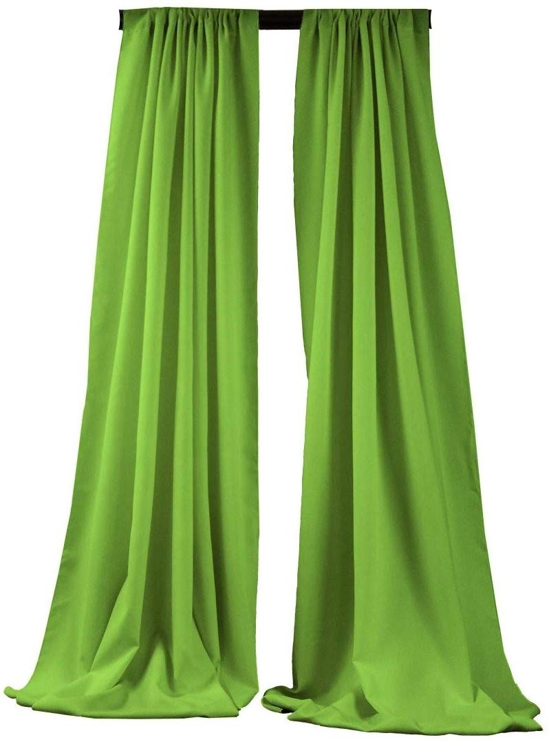 5 Feet x 10 Feet - Lime - Polyester Backdrop Drape Curtains, Polyester Poplin Backdrop - 1 Pair