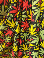 Marijuana Print Fabrics MultiColor On Lycra Spandex Fabric Weed Print Fabric Sold By The Yard