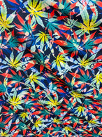 Marijuana Print Fabrics Blue MultiColor On Lycra Spandex Fabric Weed Print Fabric Sold By The Yard