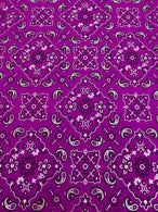 Bandana Print Fabrics - Magenta - Lycra Spandex Fabric Sold By The Yard