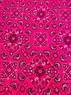 Bandana Print Fabrics - Neon Pink - Lycra Spandex Fabric Sold By The Yard