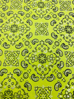 Bandana Print Fabrics - Neon Yellow - Lycra Spandex Fabric Sold By The Yard