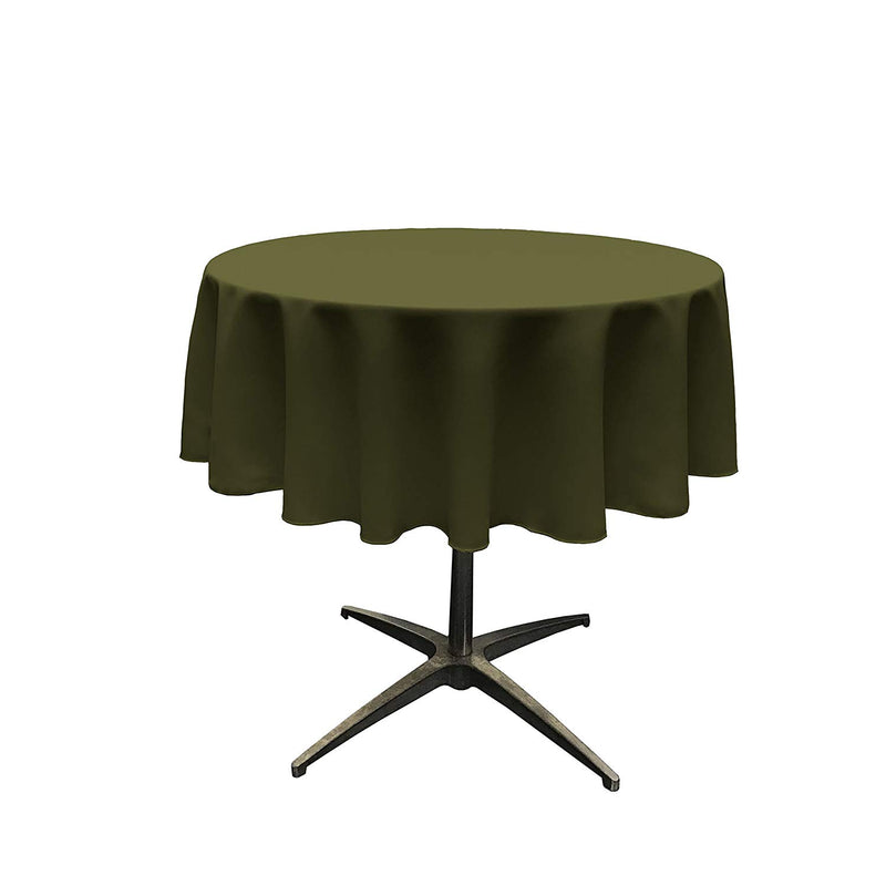 Round Linentablecloth - Olive Green - 51 Inch Round Banquet Polyester Cloth, Wrinkle Resist Quality