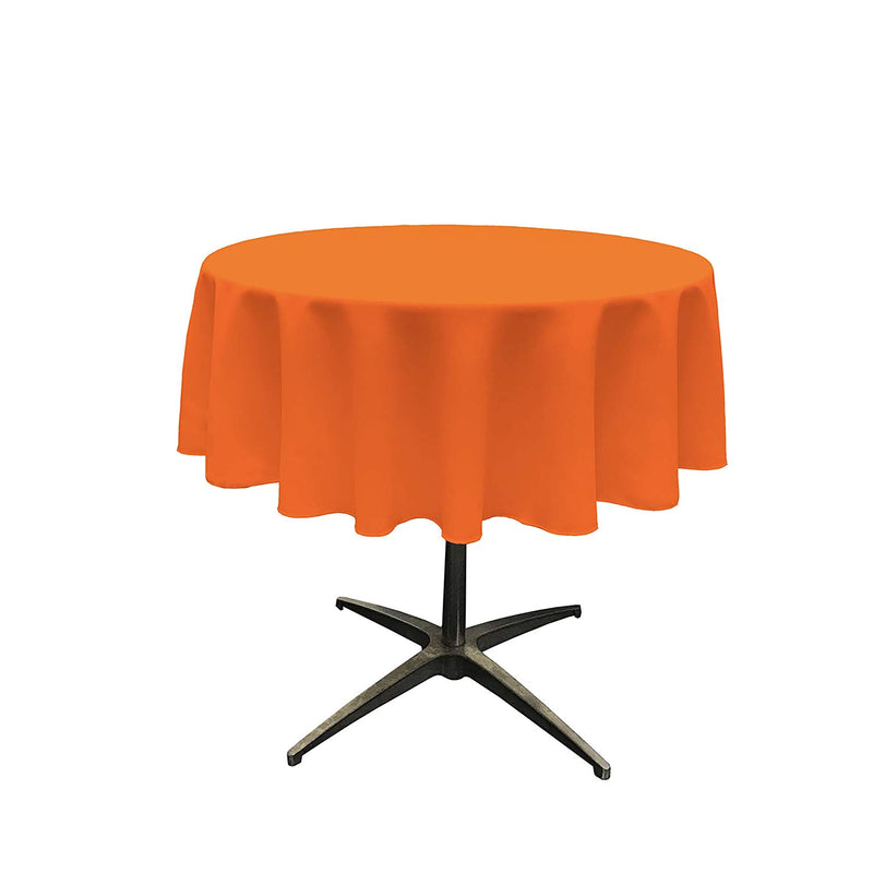 Round Linentablecloth - Orange - 51 Inch Round Banquet Polyester Cloth, Wrinkle Resist Quality