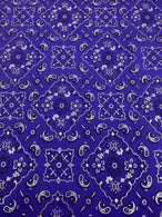 Bandana Print Fabrics - Purple - Lycra Spandex Fabric Sold By The Yard