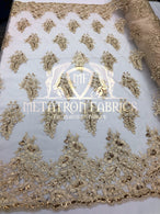 Lace Fabric - Champagne - Corded Flowers Embroidery With Sequins On Mesh Sold By The Yard
