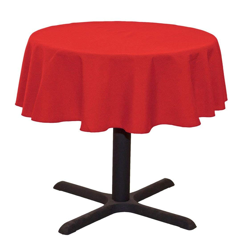 Round Linentablecloth - Red - 51 Inch Round Banquet Polyester Cloth, Wrinkle Resist Quality