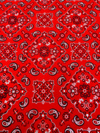 Bandana Print Fabrics - Red - Lycra Spandex Fabric Sold By The Yard