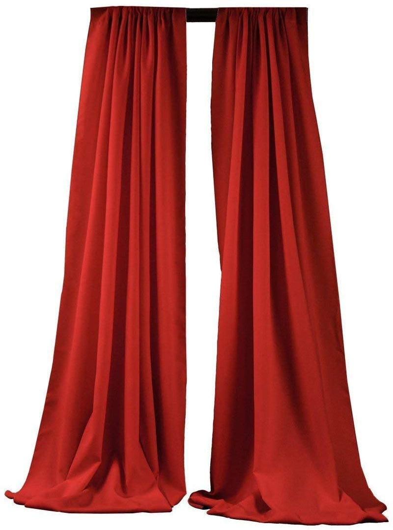 5 Feet x 10 Feet - Red -  Polyester Backdrop Drape Curtains, Polyester Poplin Backdrop 1 Pair