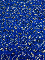 Bandana Print Fabrics - Royal Blue - Lycra Spandex Fabric Sold By The Yard