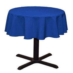 Round Linentablecloth - Royal Blue - 51 Inch Round Banquet Polyester Cloth, Wrinkle Resist Quality