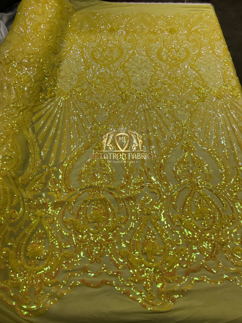 Iridescent Sequins - Yellow - 4 Way Stretch Damask Design Fabric On Stretch Mesh By The Yard