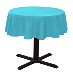 Round Linentablecloth - Turquoise - 51 Inch Round Banquet Polyester Cloth, Wrinkle Resist Quality