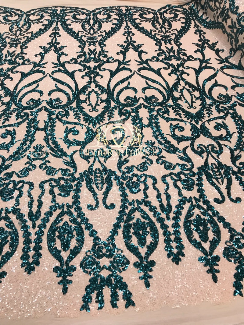 Two Tone Sequins - Teal / Nude - 4 Way Stretch Fancy Design Mesh Fabric Sold By The Yard