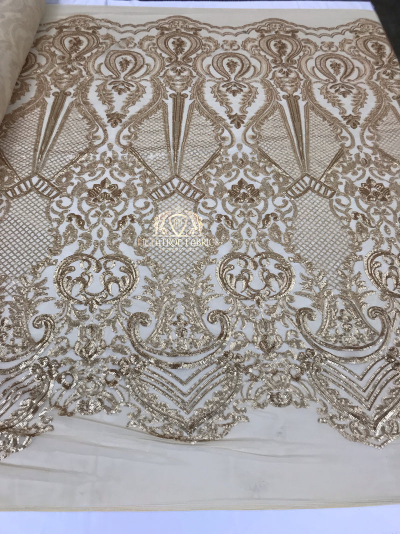 Sequins - Gold - 4 Way Stretch Fancy Fabric Embroidered On Mesh Sold By The Yard