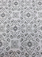 Bandana Print Fabrics - White - Lycra Spandex Fabric Sold By The Yard
