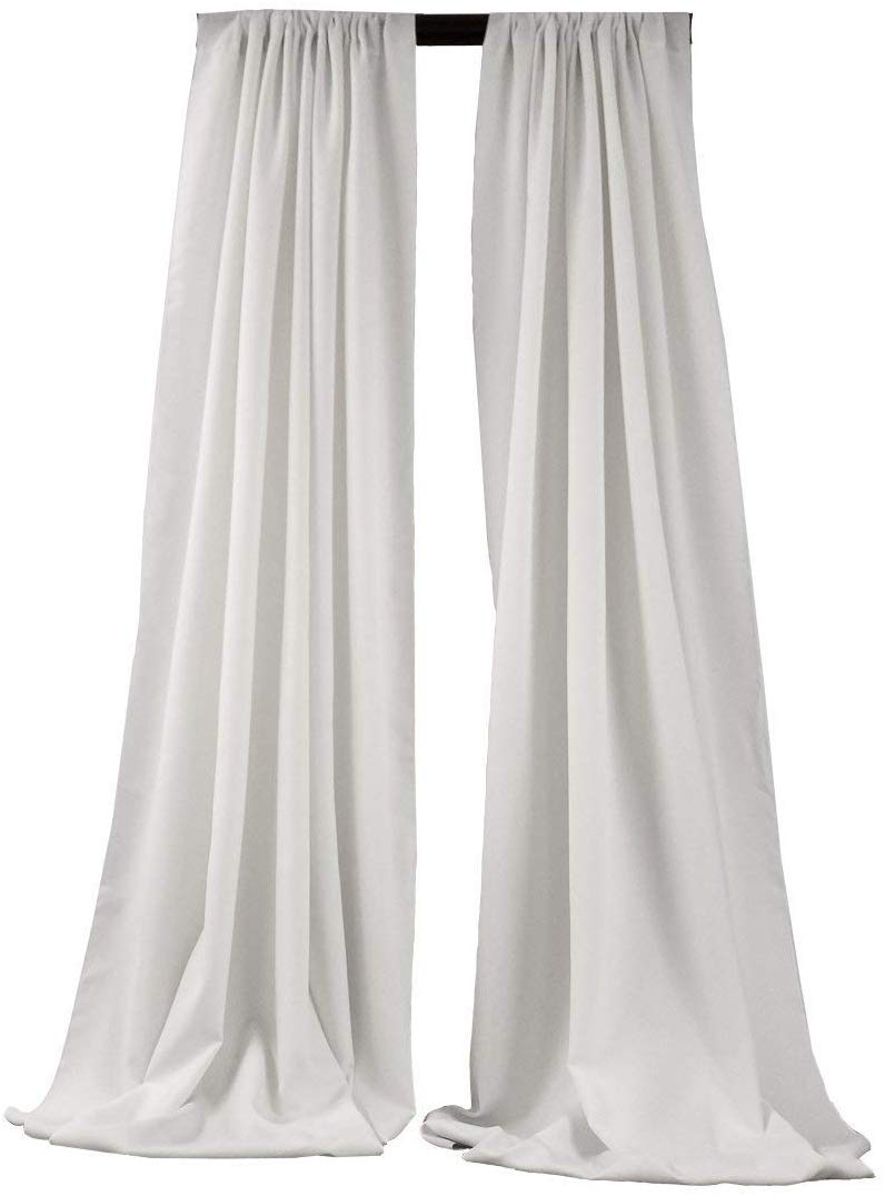 5 Feet x 10 Feet - White - Polyester Backdrop Drape Curtains, Polyester Poplin Backdrop - 1 Pair