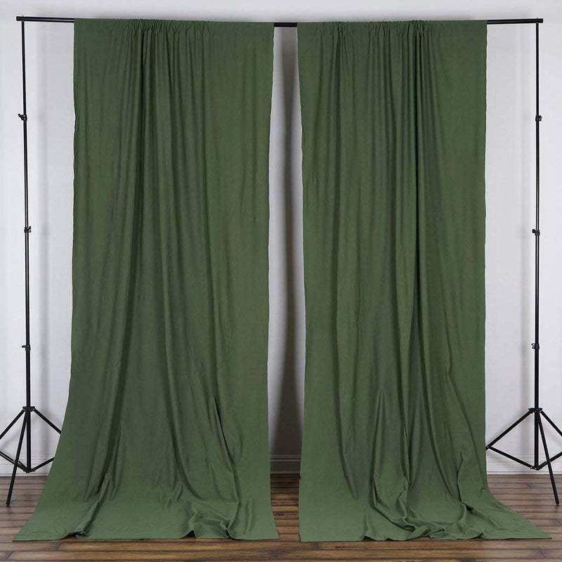 10 Feet x 10 Feet - Willow Green Polyester Poplin Backdrop Drape Curtains, Photography Decor 1 Pair
