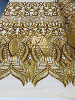 4 Way Stretch - Gold - Sequins Mesh Design Fancy Dress Fabric Sold By The Yard