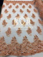Lace Fabric - Blush Peach - Corded Flowers Embroidery With Sequins On Mesh Sold By The Yard