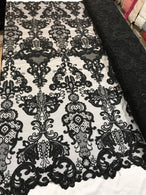 Floral - Black - Embroided Lace Fabric Damask Pattern - Beautiful Fabrics Sold by The Yard