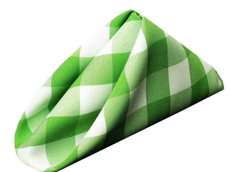 Checkered Napkins - Apple Green - 15-Inch Polyester Napkins (1-Dozen) Checkered Napkins
