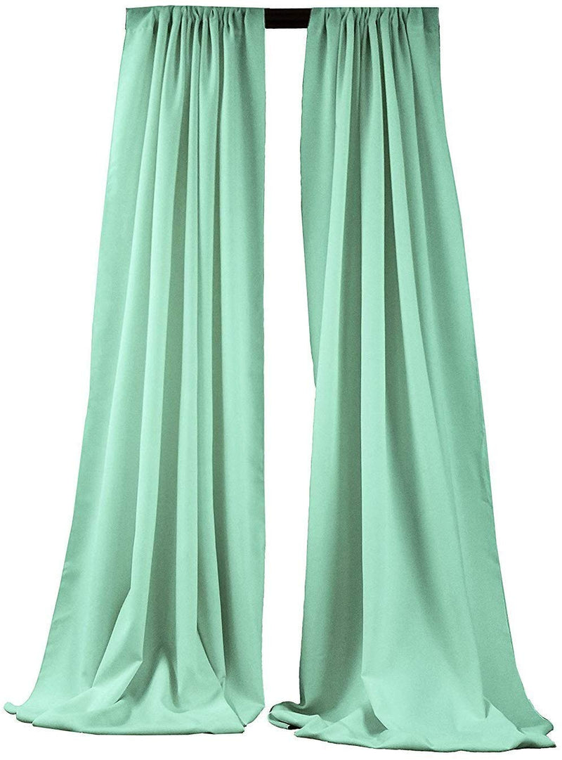 5 Feet x 10 Feet - Aqua - Polyester Backdrop Drape Curtains, Polyester Poplin Backdrop 1 Pair