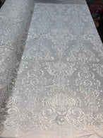 Floral - White - Embroided Lace Fabric Damask Pattern - Beautiful Fabrics Sold by The Yard