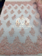 Lace Fabric - Blush Pink - Corded Flowers Embroidery With Sequins On Mesh Sold By The Yard