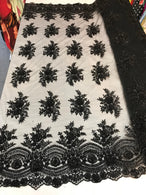 Beaded - Black - Embroidered Floral Design Fancy Sequins Fabric with Beads Sold By The Yard