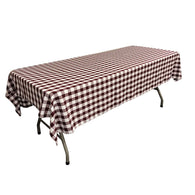 Rectangular Checkered Tablecloth 60x120 Inch (Burgundy/White) Linen Checkered Tablecloth