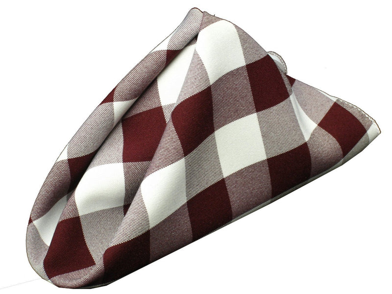 Checkered Napkins - Burgundy - 15-Inch Polyester Napkins (1-Dozen) Checkered Napkins