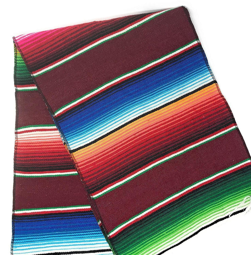 Mexican Sarape - Burgundy - Table Runner 14