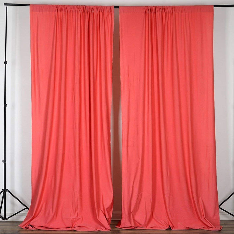 10 Feet x 10 Feet - Coral - Polyester Poplin Backdrop Drape Curtains, Photography Event Decor 1 Pair