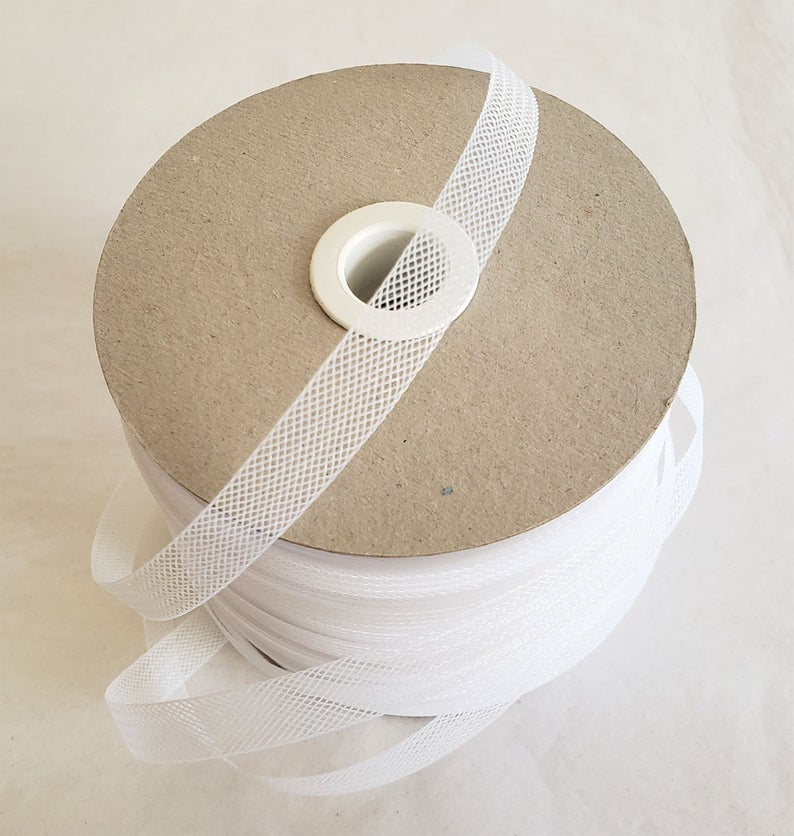 50 yards 1/2 Inche wide White Crinoline Horsehair Bridal-Prom-Wedding- Bridal Trim-night gown trim