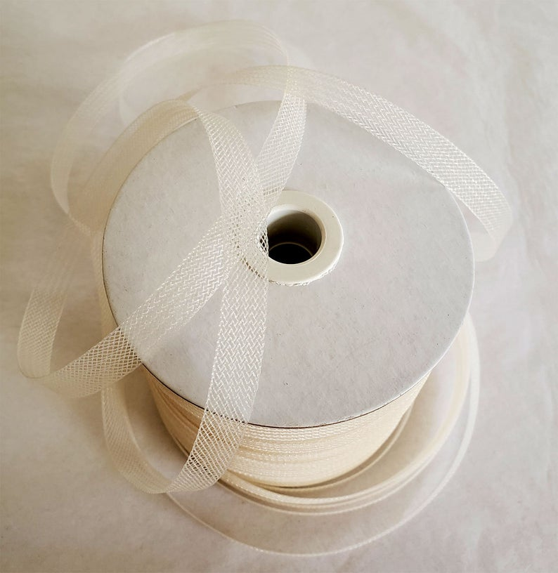 25 yards 1/2 Inche wide IVORY Crinoline Horsehair Bridal-Prom-Wedding- Bridal Trim-night gown trim