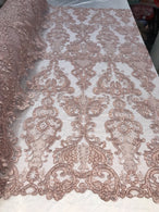 Floral - Dusty Rose - Embroided Lace Fabric Damask Pattern - Beautiful Fabrics Sold by The Yard